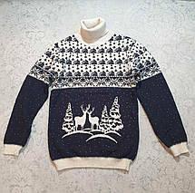 Бежевый свитер с оленями на мальчиков от 110 до 146 роста, фото 3