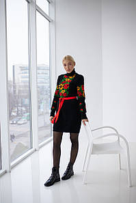 Женское вязаное платье теплое - Рябина