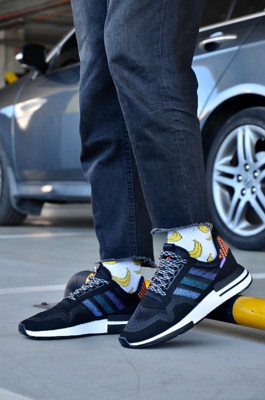 Мужские кроссовки adidas ZX 500 в стиле адидас ЧЕРНЫЕ (Реплика ААА+)