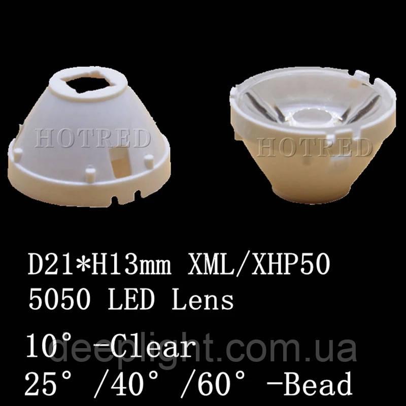 Светодиодная линза/коллиматор 40° градусов 21Х13 XHP50.2 XHP50 XML 5*5