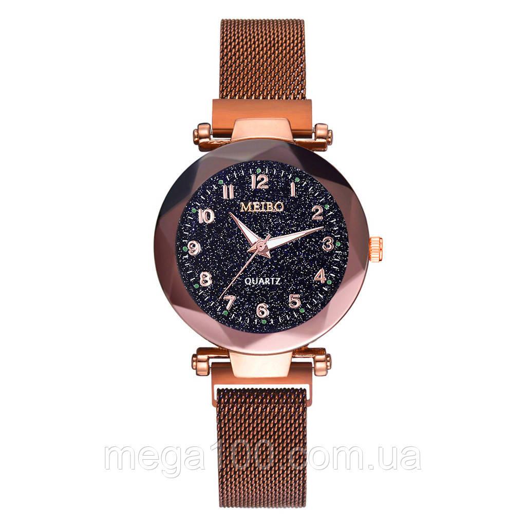 Женские наручные часы на магнитном браслете цвет кофе
