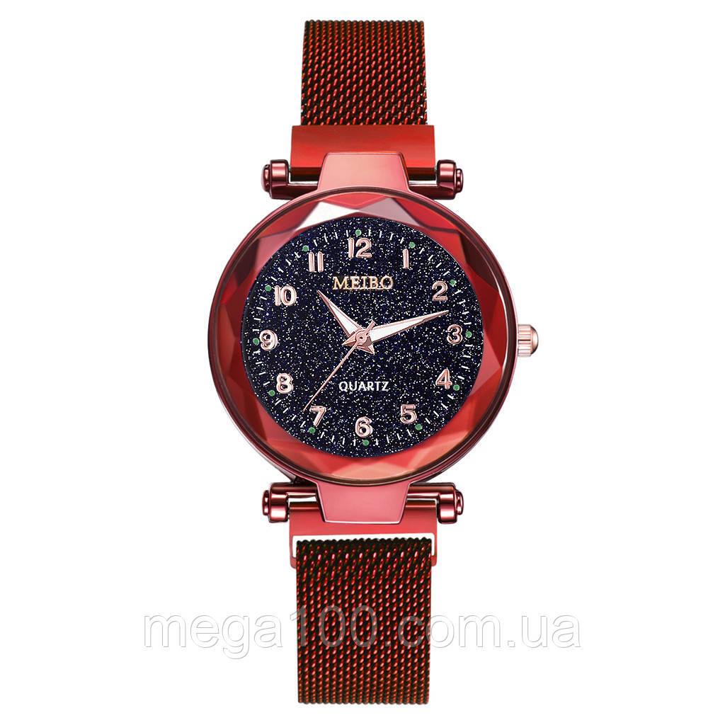Женские наручные часы на магнитном браслете цвет красный