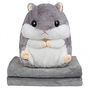 Плед Хомяк 3 в 1 игрушка подушка плед серый | Хомячок 3 в 1 игрушка плед подушка мягкая