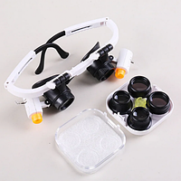 NO.9892RD лупа-очки бинокулярные c LED подсветкой, 3 сменные линзы: 6Х,10Х, 25Х