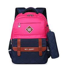 Школьный рюкзак с ортопедической спинкой и пеналом для девочки 1, 2, 3, 4, 5 класс, сине - розовый портфель