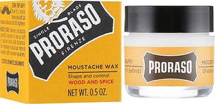 Віск для вусів Proraso Moustache Wax Wood & Spice, 400760/400761, 15 мл