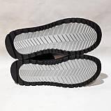 Мужские теплые кожаные спортивные ботинки зимние кроссовки на меху Черные с белыми вставками, фото 8