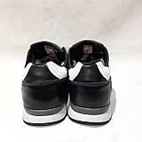 Мужские теплые кожаные спортивные ботинки зимние кроссовки на меху Черные с белыми вставками, фото 7