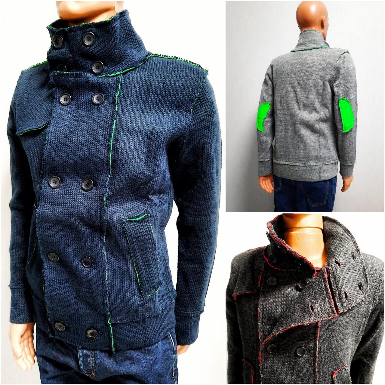 Мужской вязаный кардиган, тёплая стильная кофта, свитер под горло на пуговицах Lee`Ecosse