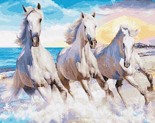 Картина по номерам - Троица белых лошадей Brushme 40*50 см. (GX30729), фото 2