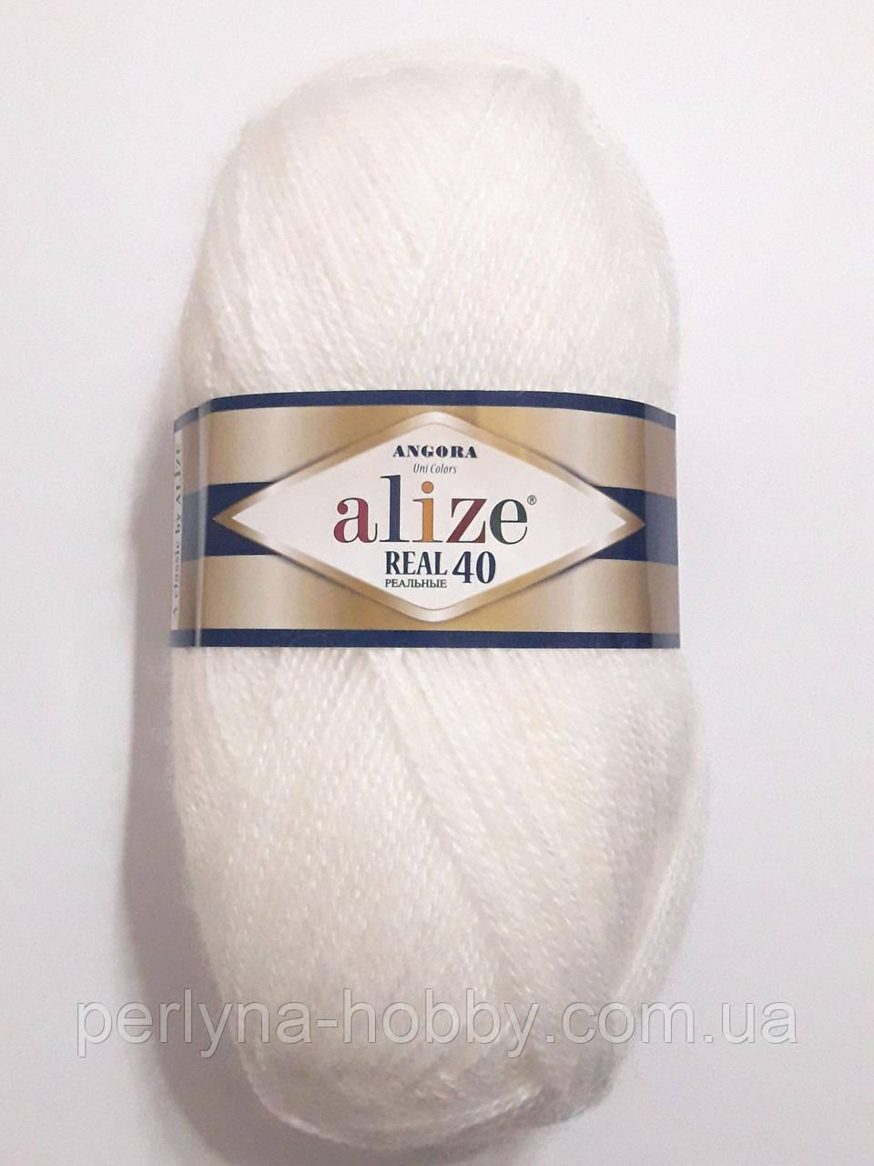 Пряжа ангора Ализе Angora Alize Real 40, 60% акрил 40% шерсть 100 грам, 480 м, біла