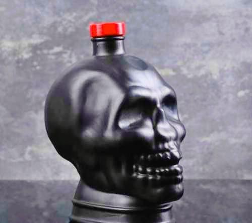 Бутылка стеклянная «Череп» черный 1000мл