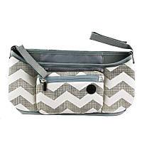 Сумка на ручку коляски, органайзер, Grab & Go, цвет - серый с узором волны