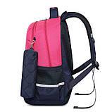 Рюкзак школьный ортопедический с пеналом для девочки 7 - 8 - 9 - 10 лет,  портфель темно-синий - розовый, фото 4