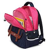 Рюкзак школьный ортопедический с пеналом для девочки 7 - 8 - 9 - 10 лет,  портфель темно-синий - розовый, фото 3