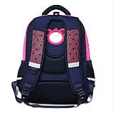 Рюкзак школьный ортопедический с пеналом для девочки 7 - 8 - 9 - 10 лет,  портфель темно-синий - розовый, фото 5