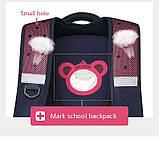 Рюкзак школьный ортопедический с пеналом для девочки 7 - 8 - 9 - 10 лет,  портфель темно-синий - розовый, фото 6
