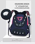 Рюкзак школьный ортопедический с пеналом для девочки 7 - 8 - 9 - 10 лет,  портфель темно-синий - розовый, фото 8