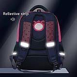 Рюкзак школьный ортопедический с пеналом для девочки 7 - 8 - 9 - 10 лет,  портфель темно-синий - розовый, фото 9