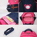 Рюкзак школьный ортопедический с пеналом для девочки 7 - 8 - 9 - 10 лет,  портфель темно-синий - розовый, фото 10