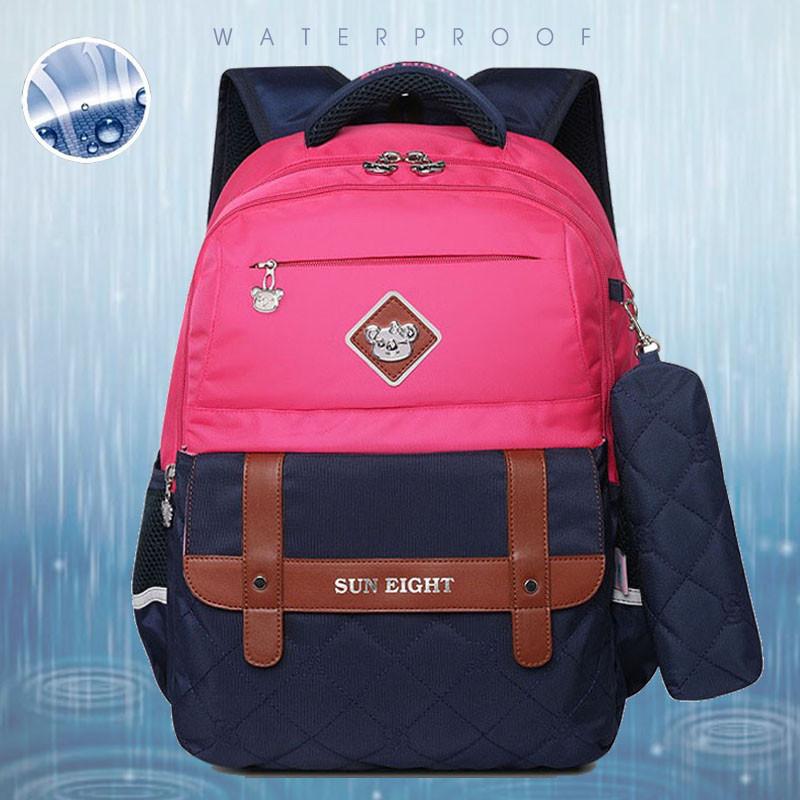 Рюкзак школьный ортопедический с пеналом для девочки 7 - 8 - 9 - 10 лет,  портфель темно-синий - розовый