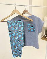 """Молодежная пижама голубого цвета для дома и сна с футболкой и штанами """"Веселые монстры"""" на подарок"""