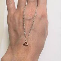 Срібне кольє підвіска з золотом на ланцюжку Трикутник, фото 1