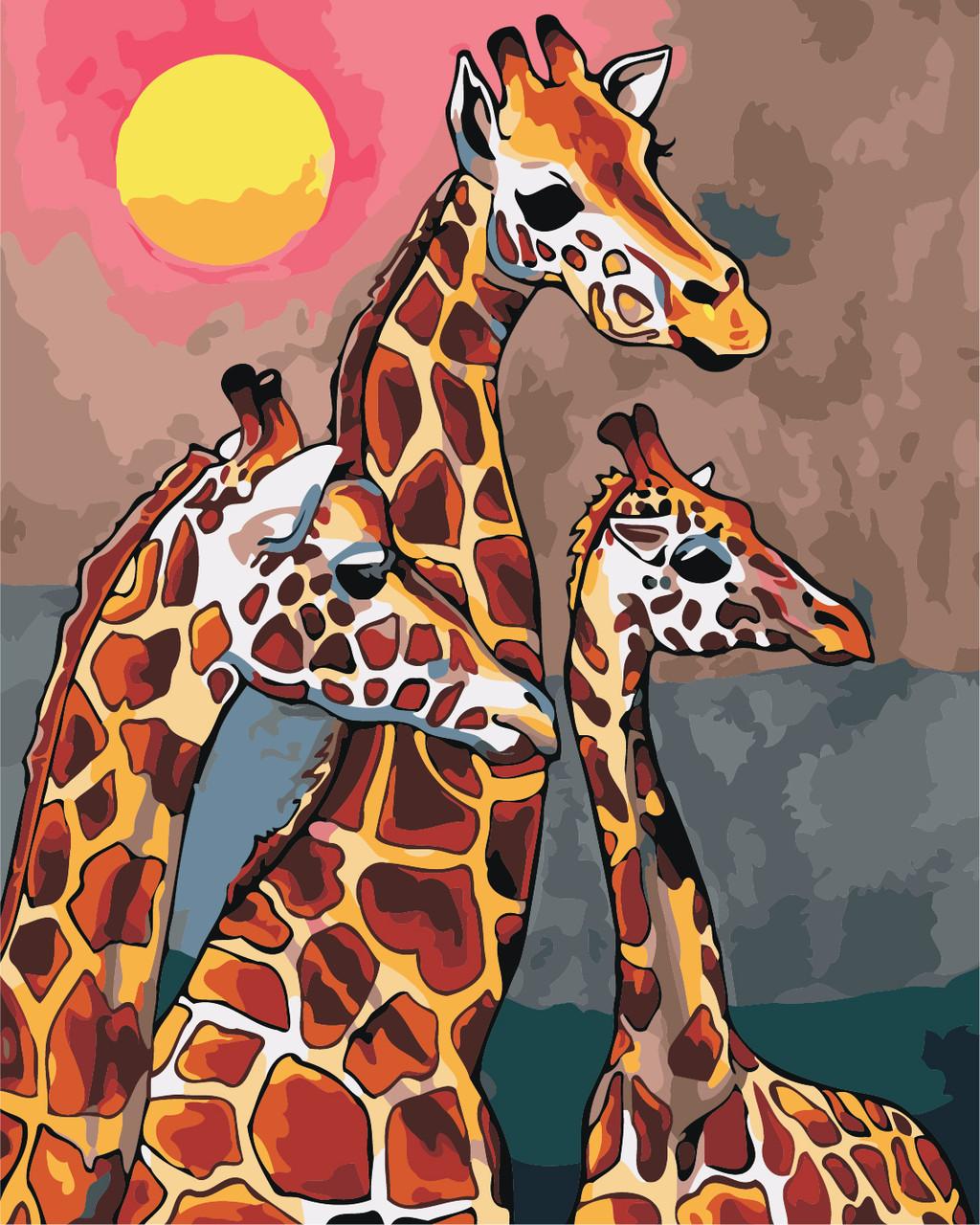 Художественный творческий набор, картина по номерам Семья жирафов, 40x50 см, «Art Story» (AS0869)