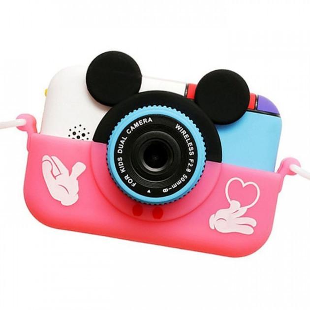 Детский фотоаппарат Микки Маус Розовый 2 Камеры Children`s fun цифровой 40М 1080FHD  (MP)