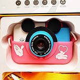 Детский фотоаппарат Микки Маус Розовый 2 Камеры Children`s fun цифровой 40М 1080FHD  (MP), фото 3
