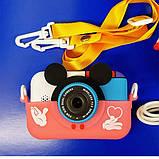 Детский фотоаппарат Микки Маус Розовый 2 Камеры Children`s fun цифровой 40М 1080FHD  (MP), фото 4