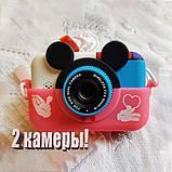 Детский фотоаппарат Микки Маус Розовый 2 Камеры Children`s fun цифровой 40М 1080FHD  (MP), фото 2