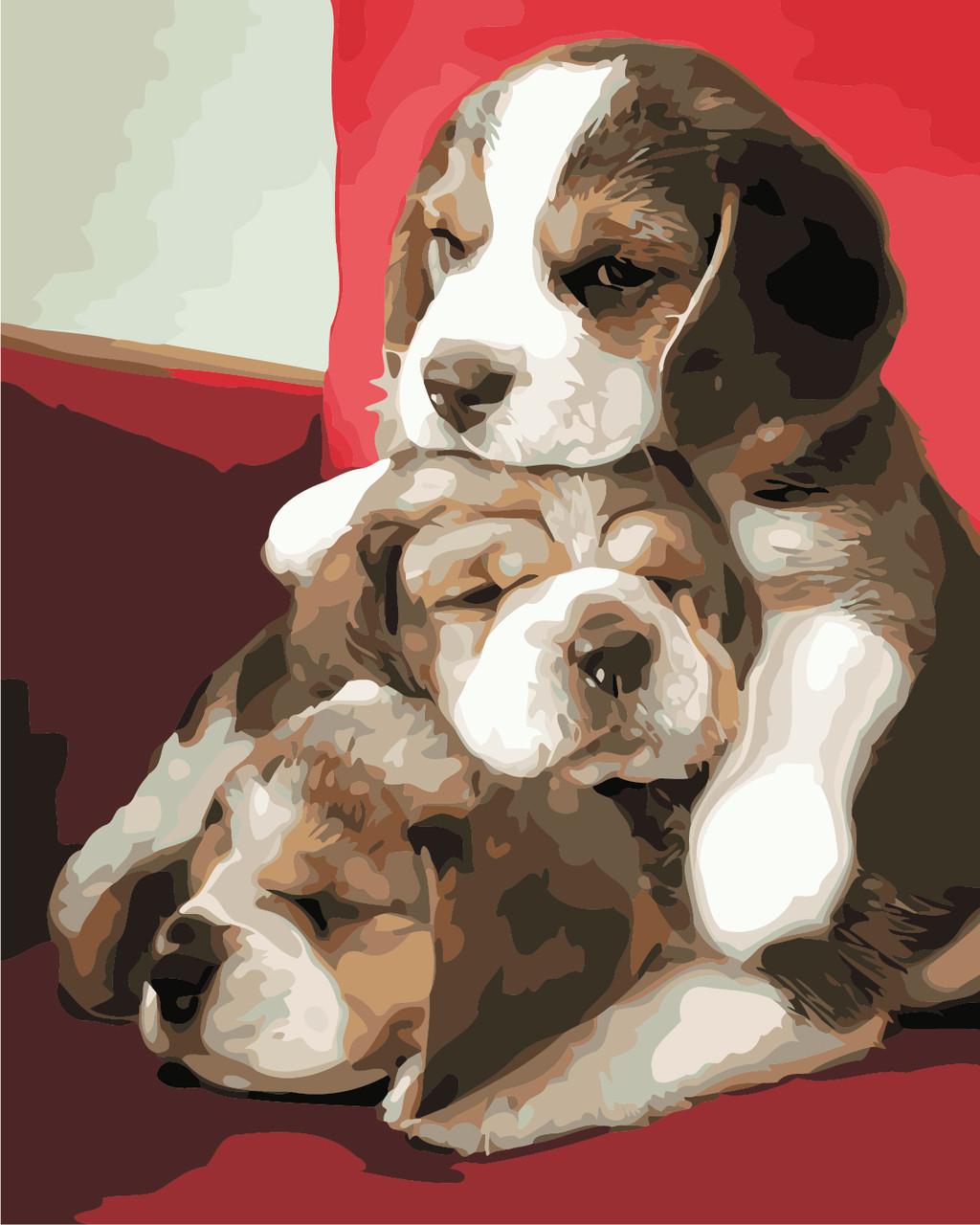 Художественный творческий набор, картина по номерам Милые щенки, 40x50 см, «Art Story» (AS0872)