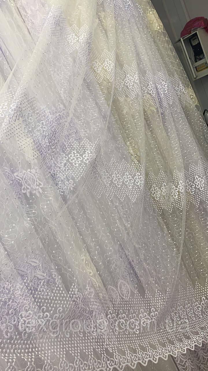 Фатиновый тюль с нежной вышивкой №1039 на отрез