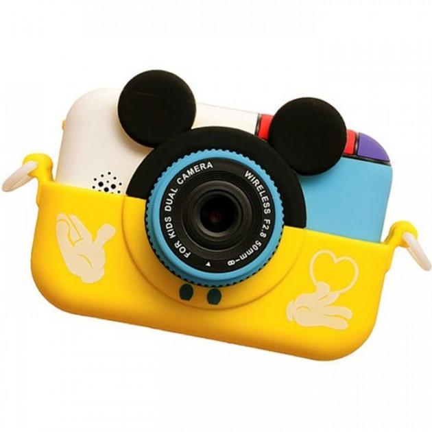 Детский фотоаппарат Микки Маус Желтый 2 Камеры  Children`s fun цифровой 40М 1080FHD (MY)