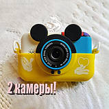 Детский фотоаппарат Микки Маус Желтый 2 Камеры  Children`s fun цифровой 40М 1080FHD (MY), фото 4
