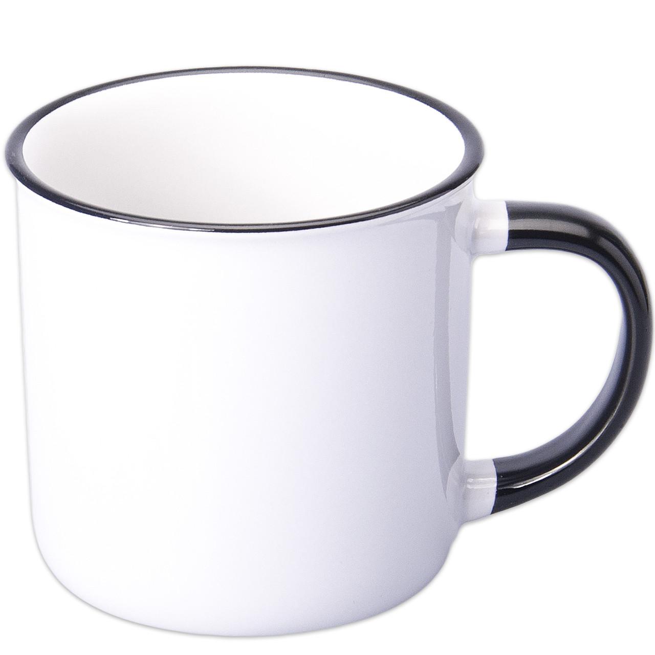 Чашка сублимационная белая эмалированная цветной ободок и ручка (чёрный)