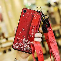 Чехол Lanyard для Iphone XR бампер с ремешком Red