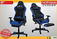Компьютерное Игровое Кресло Геймерское с Подножкой для Геймера GT Racer X-2535-F Черное / Синее