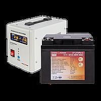 Комплект ИБП и аккумулятор для котла LogicPower 500 + литиевая (LifePo4) батарея 900ватт