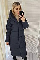 Пальто пуховик одеяло зима OVERSIZE с капюшоном арт. М521 темно синий