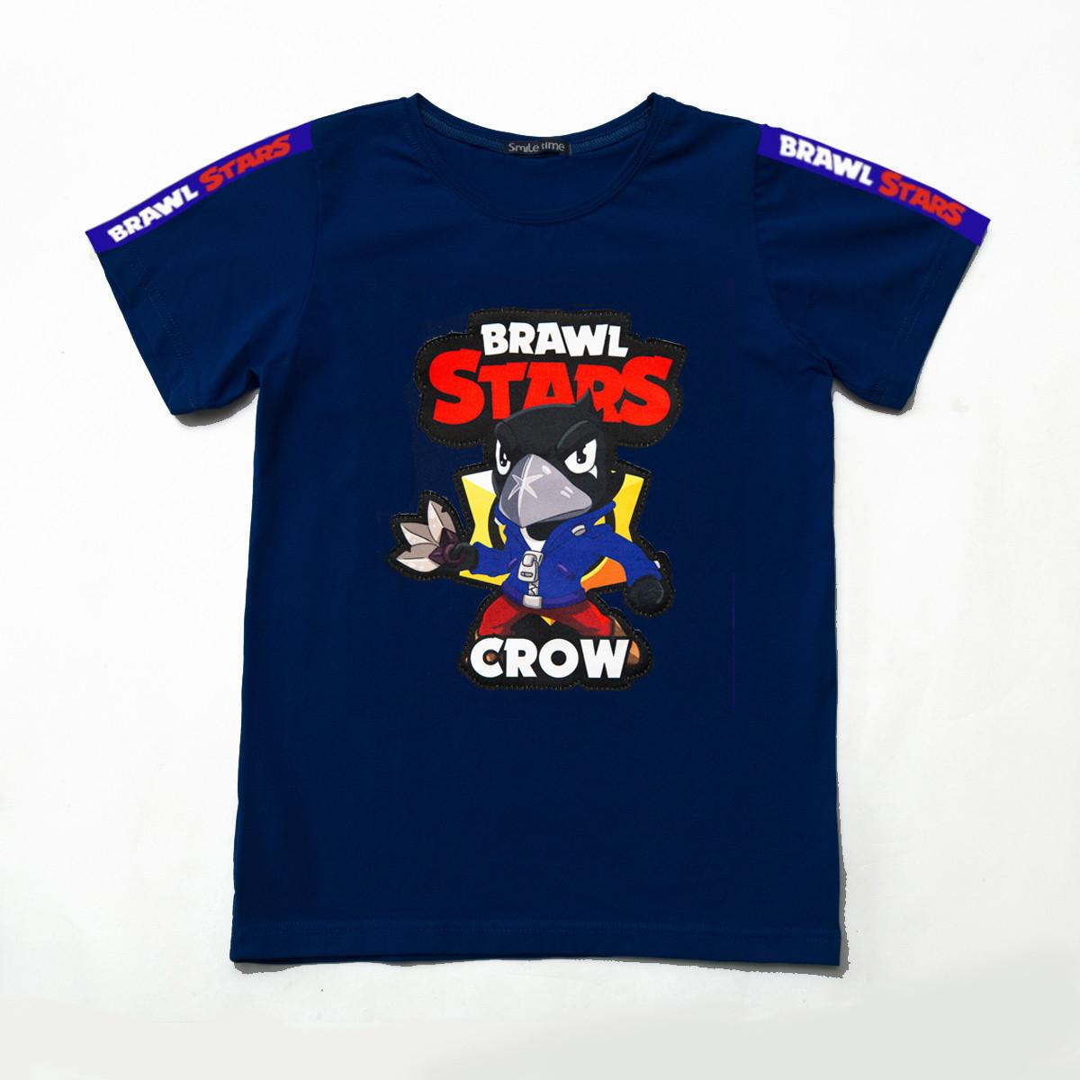 Футболка Бравл Старс р.128,134,140,146 для мальчика SmileTime Crown Brawl Stars, темно-синяя