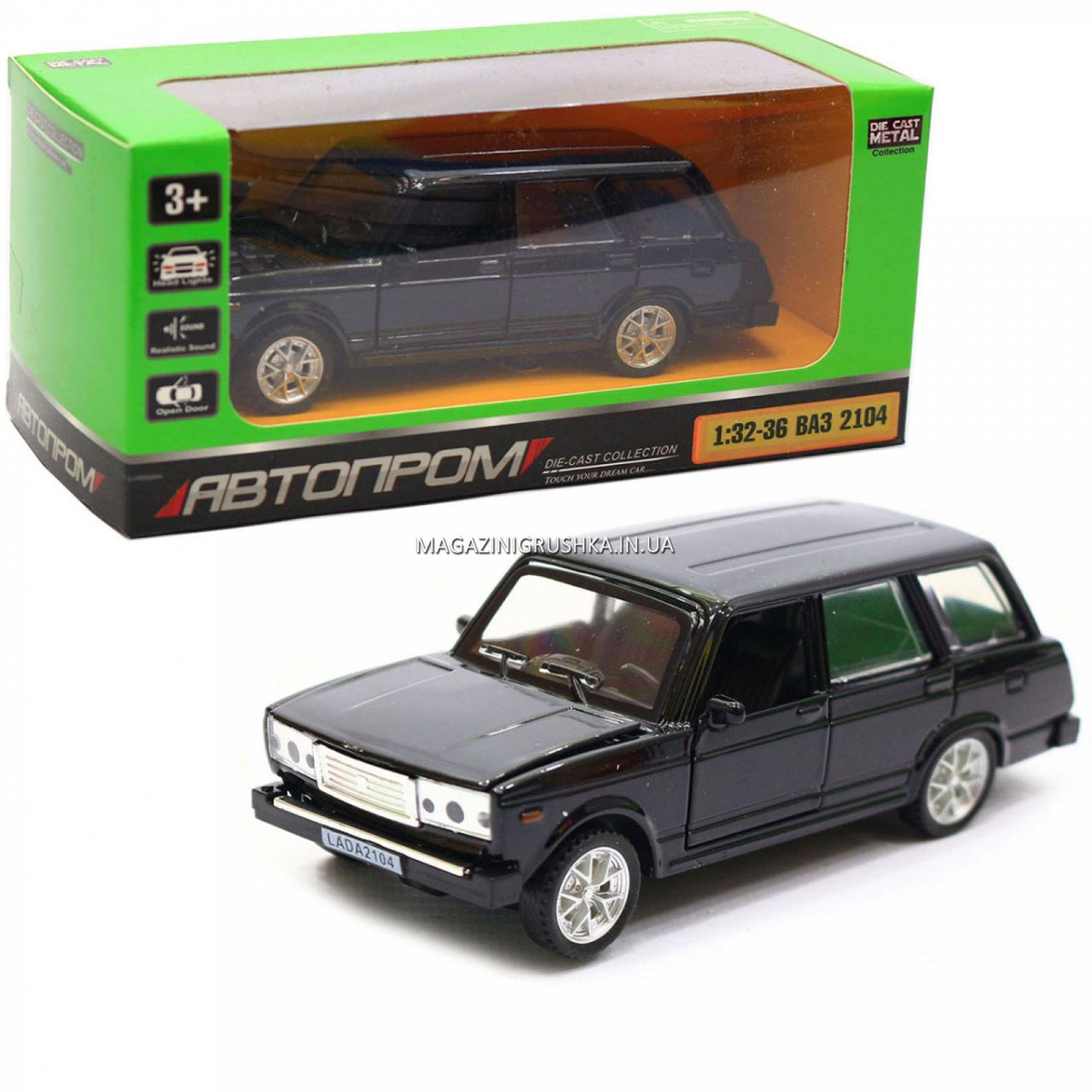 Машинка игровая автопром «ВАЗ-2104» Черный (свет, звук), 14х5х7 см (7505)