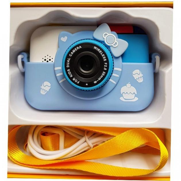 Детский фотоаппарат Hello Kitty Хеллоу Китти Синий 2 Камеры Children`s fun цифровой 40М 1080FHD (HBC)