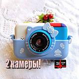 Детский фотоаппарат Hello Kitty Хеллоу Китти Синий 2 Камеры Children`s fun цифровой 40М 1080FHD (HBC), фото 4