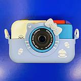 Детский фотоаппарат Hello Kitty Хеллоу Китти Синий 2 Камеры Children`s fun цифровой 40М 1080FHD (HBC), фото 3