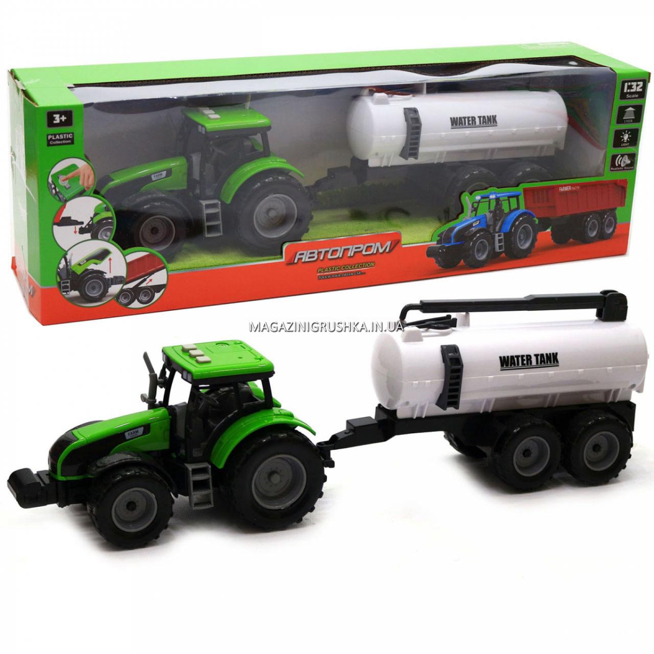 Машинка ігрова автопром «Зелений трактор з цистерною» (світло, звук, пластик) 7925ABCD