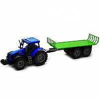 Машинка ігрова автопром «Синій трактор з відкритим причепом» (світло, звук, пластик) 7925ABCD, фото 3