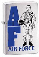 Бензиновая зажигалка Zippo Air Force, 21102 (Brushed Chrome), оригинал
