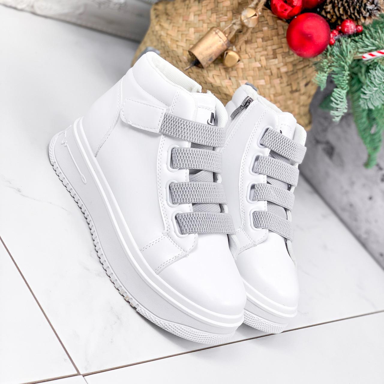 Ботинки женские Nies белые + серые 2794